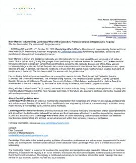 Cambridge Press Release